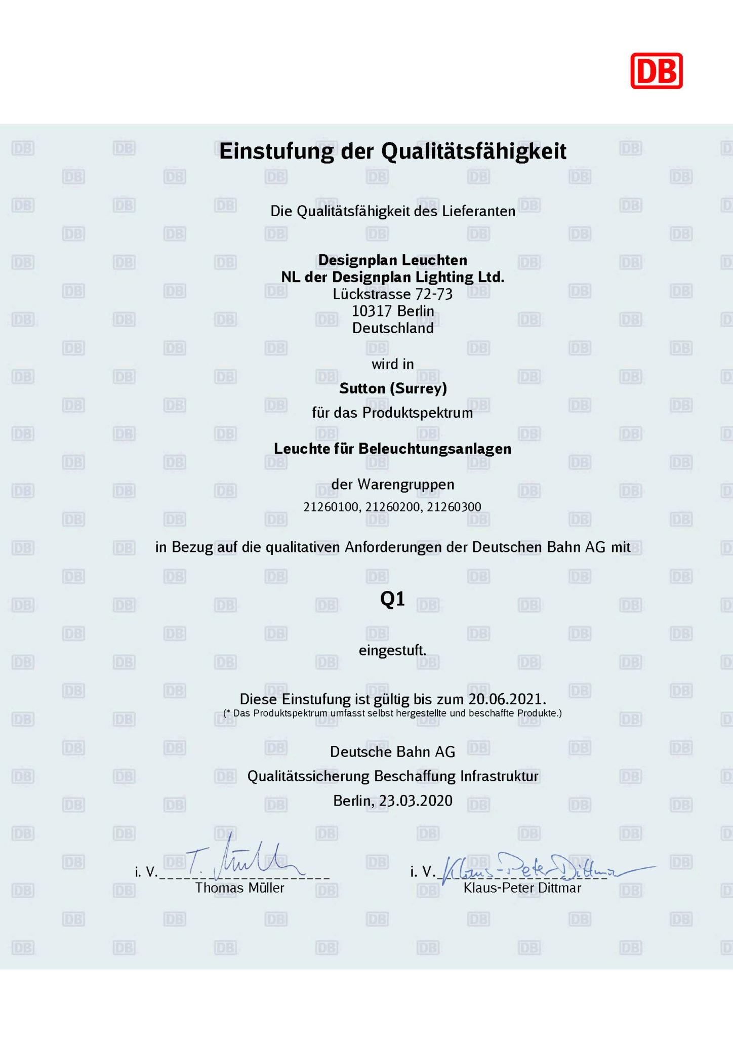 Deutsche Bahn zertifiziert