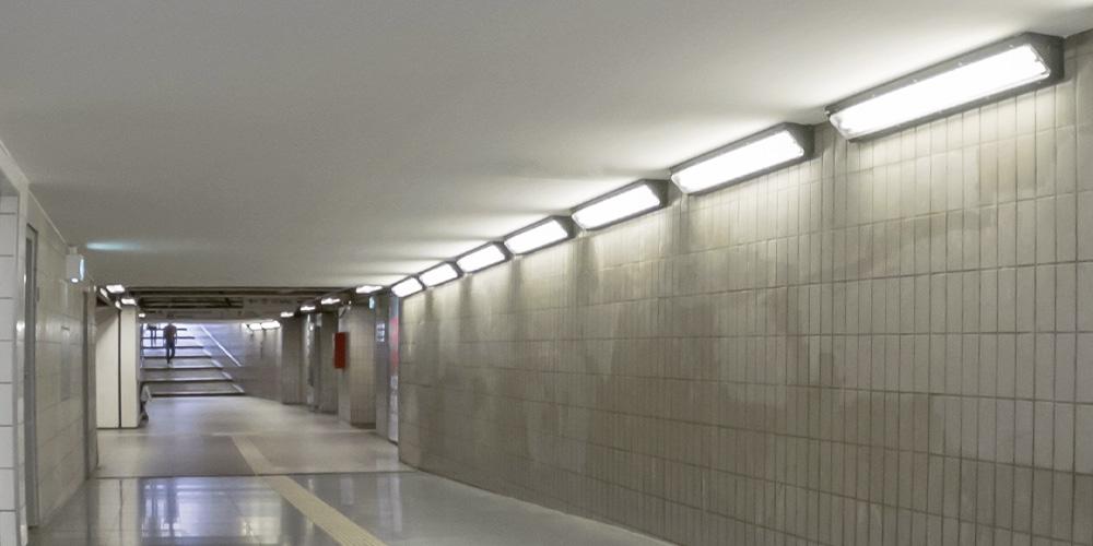 Unterführung Bahn Notlicht Notbeleuchtung in Personenverkehrsanlagen (PVA)