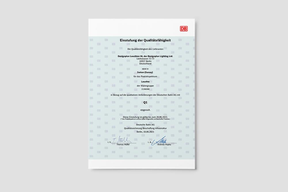 Deutsche Bahn Q1 Lieferant - Wir wurden erneut zertifiziert