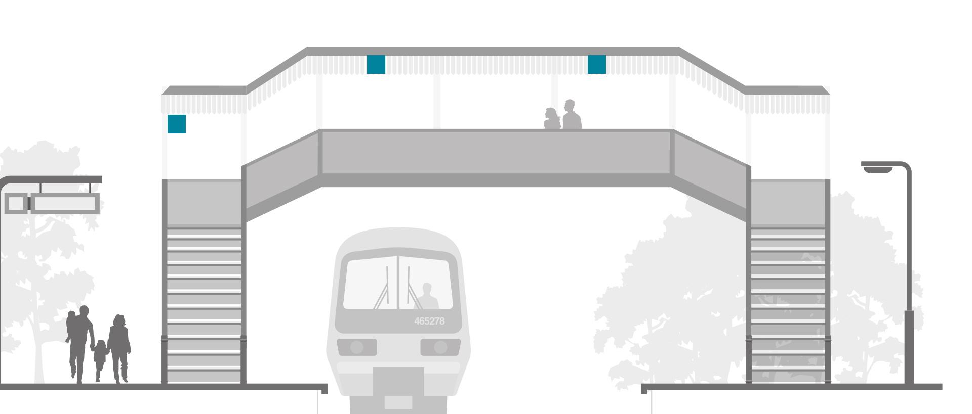 Bahnhofsleuchten Treppen Brücken